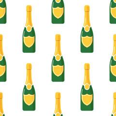 Champagne bottle seamless pattern