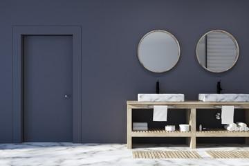 Black bathroom interior, double sink