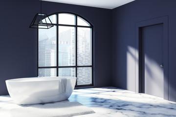 Black bathroom corner, marble floor