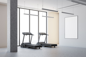 Two treadmills in a white room corner, poster
