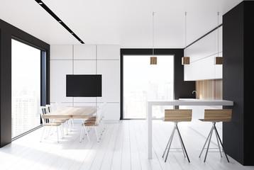 White kitchen, wooden talbe