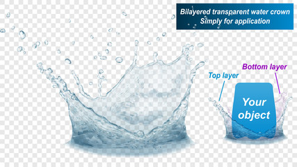 Translucent water splash crown consist of two layers: top and bottom. In gray colors, isolated on transparent background. Transparency only in vector file Fototapete