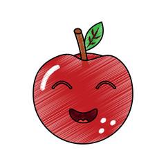 kawaii cute apple funny fruit vector illustration