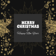 Merry Christmas and Happy New Year. Vector illustration for greeting cards, posters and other items.