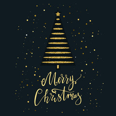 Merry Christmas card with gold glitter Christmas tree and snowflake. Modern lettering. New Year card. Used for greeting card, valentines day, banner, poster, congratulate. Isolated on dark background.