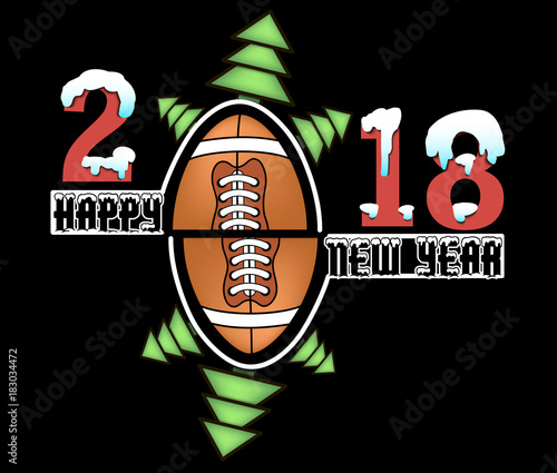 Happy New Year 2018 And Football Stock Image And Royalty Free