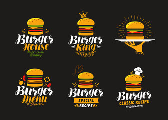 American food logo. Burger, cheeseburger, hamburger icon or label. Vector illustration