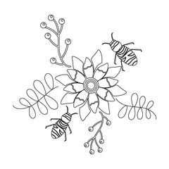 flowers and bees icon image vector illustration design  black line black line