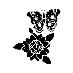 flowers and butterfly icon image vector illustration design  black and