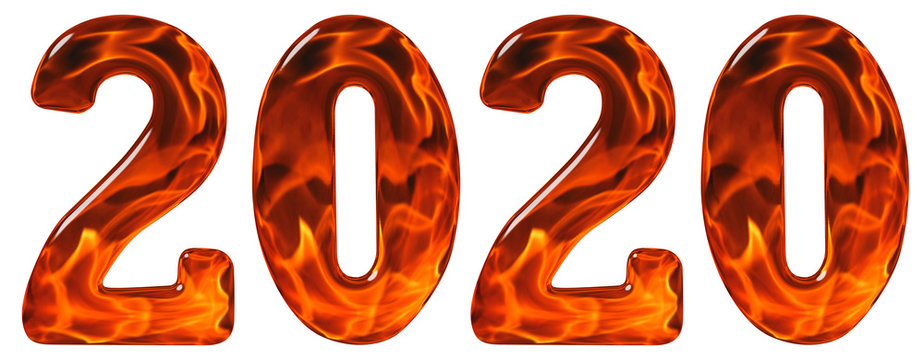 Numeral 2020 from glass with an abstract pattern of a flaming fire, isolated on white background, 3d render