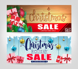 Christmas Sale Banners Set with Different Designs and Wooden Background Promotional Design For Holiday Season. Vector illustration.