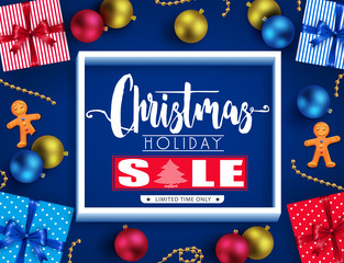 Christmas Holiday Sale Realistic Poster Design with 3D Frame, Ginger Man, Gifts and Balls in Blue Background for Holiday Promotional Design. Vector Illustration