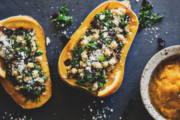 Stuffed Butternut Squash with kale, cranberries, quinoa, and chickpeas Wall mural