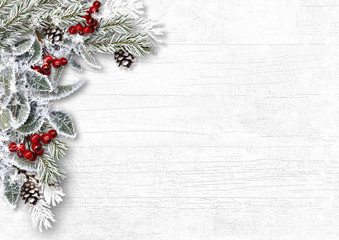 Christmas snowy branches with holly and cones on white wood background
