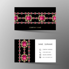 Luxurious Indian business card design, diamond gem jewelry color.Contact card for company. Two sided. Vector illustration. Flat design.