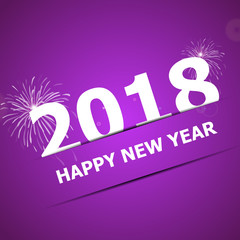 2018 Happy New Year on pink background