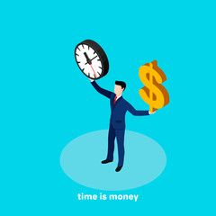 a man in a business suit holds a clock and a dollar sign in his hands, an isometric image