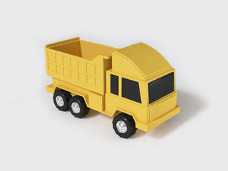 yellow toy truck 3d rendering white background