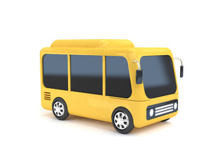yellow bus cartoon white background 3d rendering