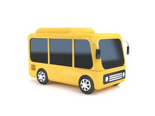 yellow bus cartoon white background 3d rendering