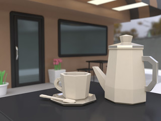 coffee cup cafe low poly cartoon style 3d rendering
