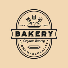 Vintage bakery logo illustration shop vector emblem