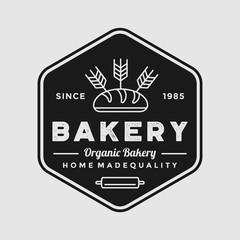 Vintage bakery logo illustration shop vector emblem