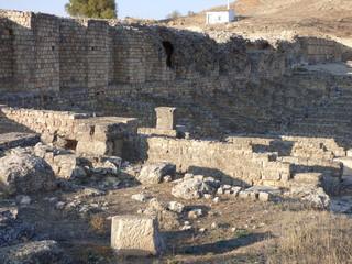 Ruinas de la ciudad romana de Valeria en Cuenca.Yacimiento romano en la Hoz del río Gritos en la localidad de Valeria, municipio de Las Valeras en Castilla-La Mancha (España)