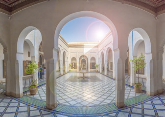 Courtyard at El Bahia Palace, Marrakech, Morocco