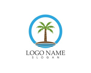 Coconut tree logo design template