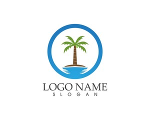 Coconut tree logo design template