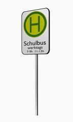 Deutsche Verkehrszeichen: Schulbushaltestelle.