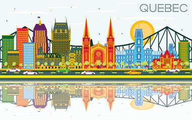 Quebec Canada Skyline with Color Buildings, Blue Sky and Reflections.