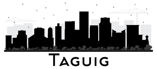 Taguig Philippines Skyline Black and White Silhouette. Vector Illustration. Simple Flat Concept for Tourism Presentation, Placard. Business Travel Concept. Taguig  Cityscape with Landmarks.