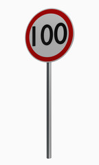 Deutsche Verkehrszeichen: Höchstgeschwindigkeit einhundert.