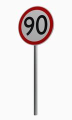 Deutsche Verkehrszeichen: Höchstgeschwindigkeit neunzig.