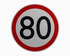Deutsche Verkehrszeichen: Höchstgeschwindigkeit achtzig. 3d rendering auf weiß isoliert