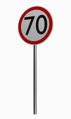 Deutsche Verkehrszeichen: Höchstgeschwindigkeit siebzig.