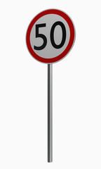 Deutsche Verkehrszeichen: Höchstgeschwindigkeit fünfzig.