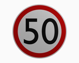 Deutsche Verkehrszeichen: Höchstgeschwindigkeit fünfzig. 3d rendering auf weiß isoliert