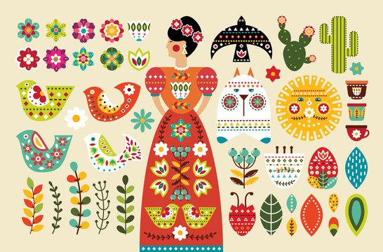 Set Mexican folk elements in flat design