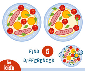 Find differences, education game, Fried egg
