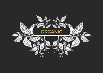 Trendy template. Tea branches with leaves and flowers. Vector emblem.