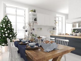 nordic kitchen with christmas decoration. 3d rendering