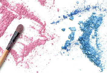 Pink and blue crushed make up powder and blush.