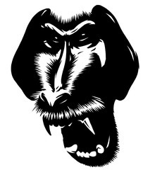 black and white linear paint draw monkey illustration