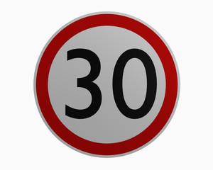 Deutsche Verkehrszeichen: Höchstgeschwindigkeit dreißig.
