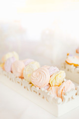 marshmallow of pastel colors are located in a white platter for sweets