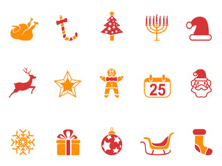 orange and red color Christmas icons set