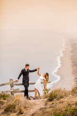 Couple in engagement dress, Marin, California